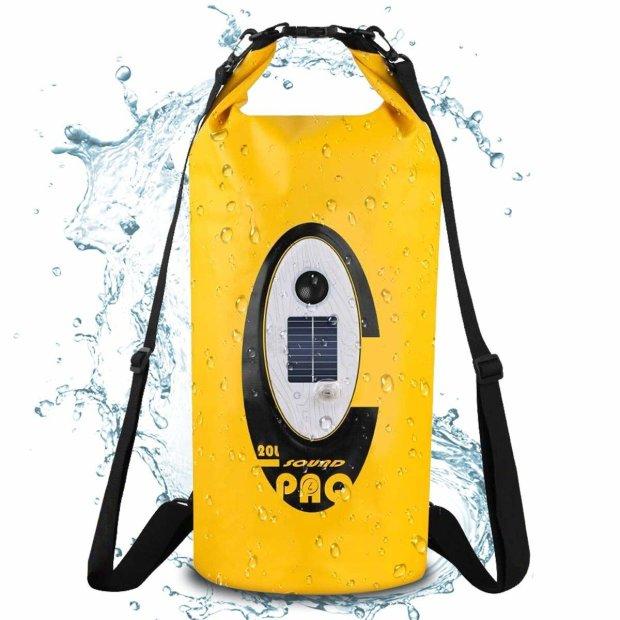 Northpoint Drybag mit Bluetooth Lautsprecher und Beleuchtung Notlicht Wasserdichter Rucksack Outdoor