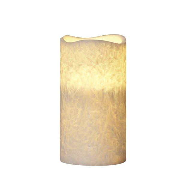 LED Echtwachs Kerze mit natürlicher Flackerfunktion und integriertem 6 Stunden Timer Stumpe Icy