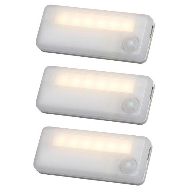 Northpoint 3er Set Aufladbare LED Akku Schrankleuchten mit Sensor Bewegungsmelder