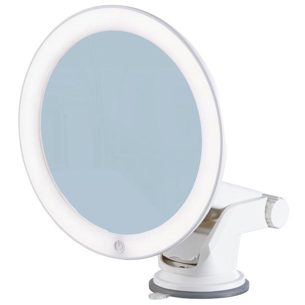 Northpoint LED Kosmetikspiegel 7x Vergrößerung mit Saugnapf, verstellbarer Farbtemperatur, dimmbarem Licht und integriertem Akku Rund