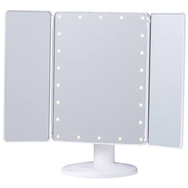 Northpoint LED Kosmetikspiegel mit Standfuß, verstellbarer Farbtemperatur, dimmbarem Licht und integriertem Akku Eckig