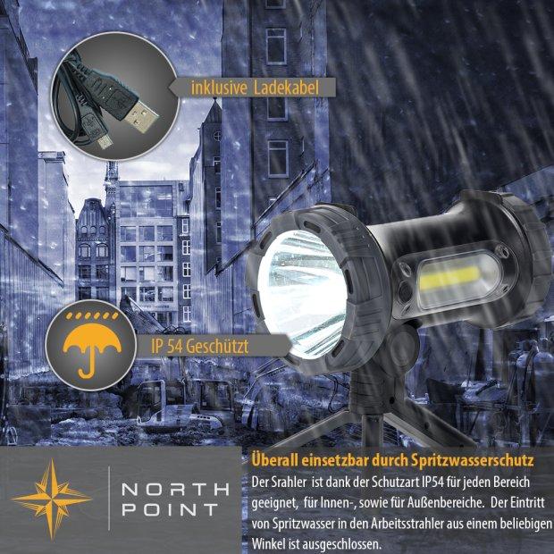 Northpoint Aufladbarer LED Akku Handstrahler Taschenlampe Baustrahler Baulampe 10W 4400mAh Powerbank mit ausklappbarem Standfuß