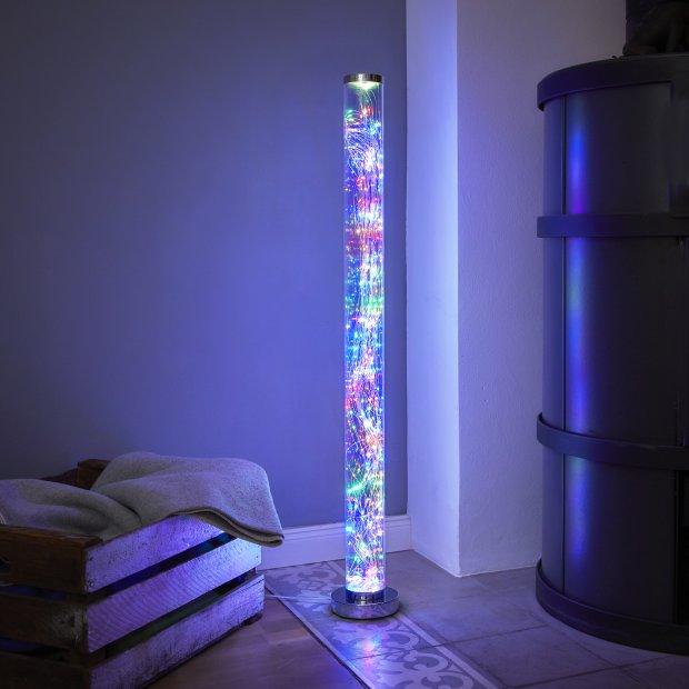 Northpoint Micro LED Tower Lichtsäule Standleuchte Stehleuchte Bunte LEDs Fußtrittschalter hochglanz Chrom-Look Standfuß / Abdeckung