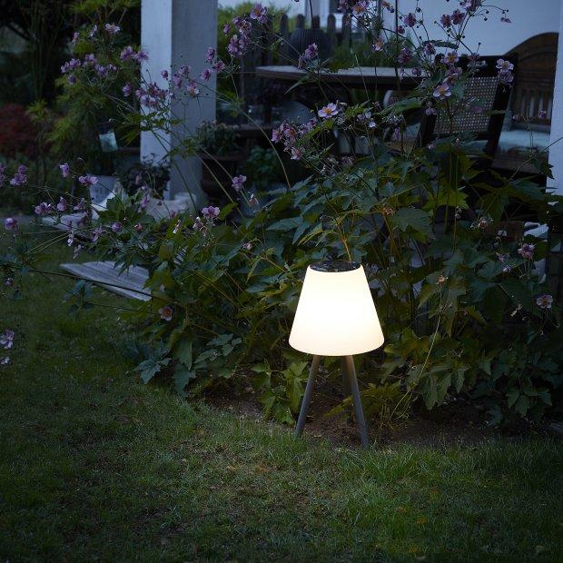LED Lampe mit Solar Panel und integriertem Akku kabellos 14h Laufzeit USB