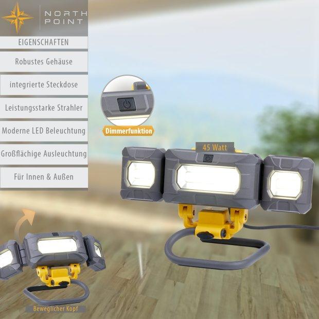 LED Arbeitsstrahler Baustrahler mit schwenkbaren Seitenstrahlern 4000 Lumen