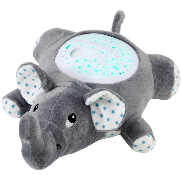 Northpoint LED Plüschtier Sternenprojektor Nachtlicht mit 13 Schlummermelodien / waschbar / Lautstärke einstellbar Elefant