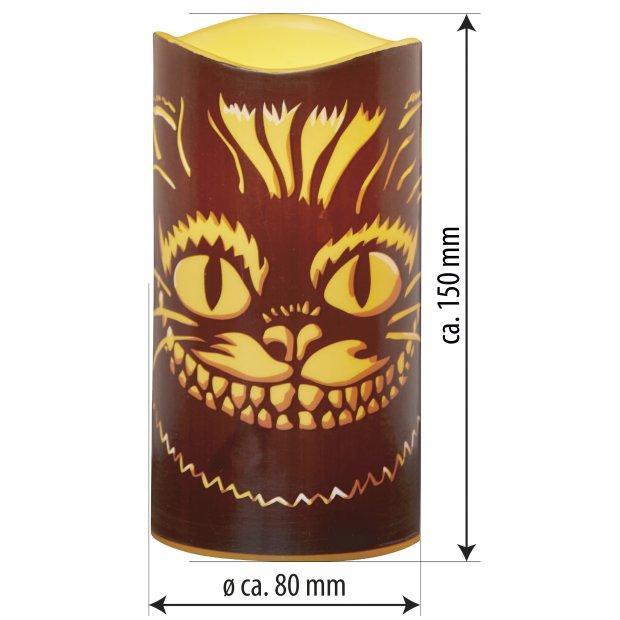 LED Halloween Kerzen Echtwachs verschiedene Modelle Flackerlicht Grinsekatze