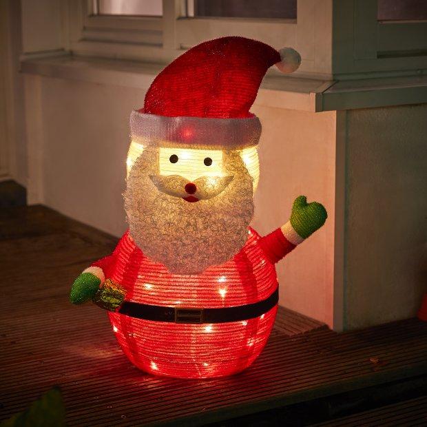 Northpoint LED Weihnachtsmann warmweiß 70cm hoch 45 LEDs mit wasserdichtem Batteriefach und integriertem Timer