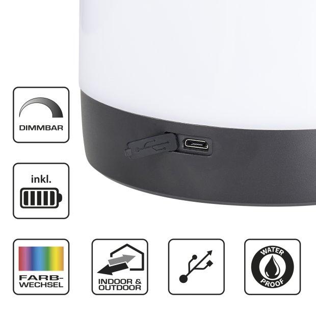 Northpoint Aufladbare LED Outdoor Camping Lampe Tischleuchte mit Farbwechselfunktion Warmweiß 3600mAh Akku