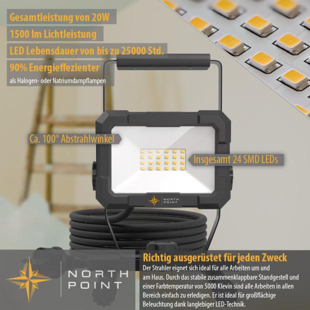 Northpoint LED Blackline Baustrahler mit Standfuß (20W, 1600 Lumen, IP65)