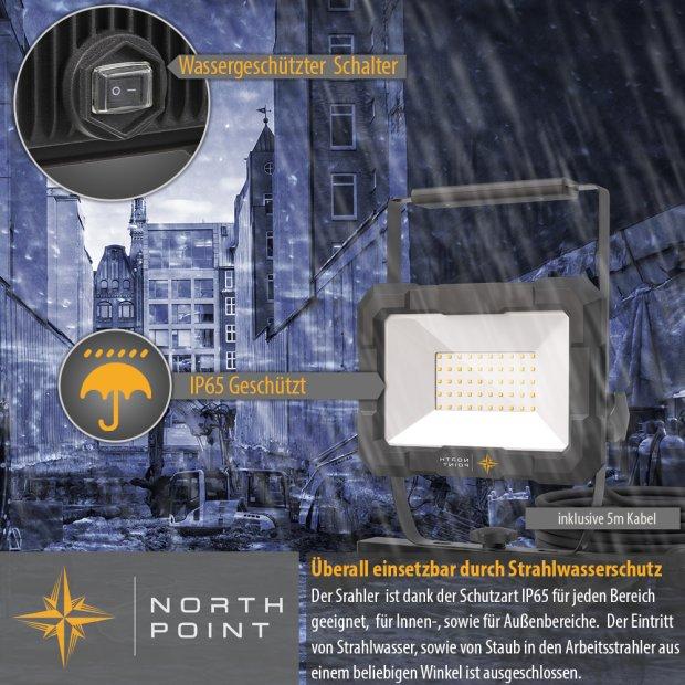 Northpoint LED Blackline Baustrahler mit Standfuß (50W, 4000 Lumen, IP65)