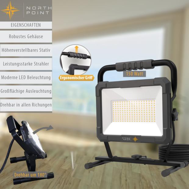 Northpoint LED Blackline Baustrahler mit Standfuß (150W, 12500 Lumen, IP65)