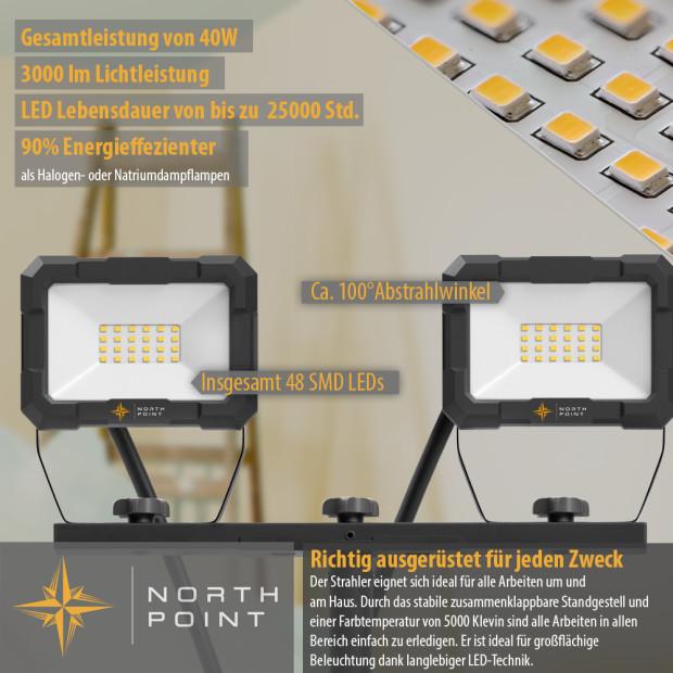 Northpoint LED Blackline Doppelbaustrahler mit Stativ (2x20W, 2x1600 Lumen, 1,56m)