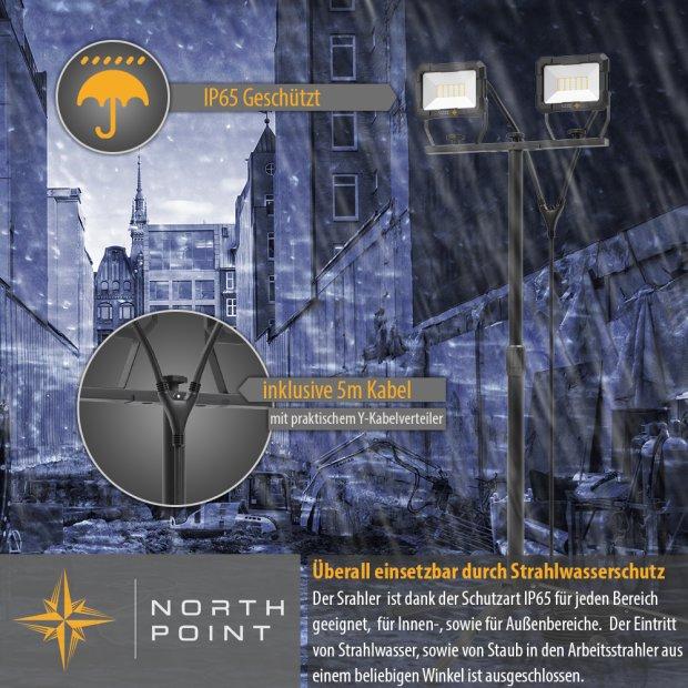 Northpoint LED Blackline Doppelbaustrahler mit Stativ (2x30W, 2x2400 Lumen, 1,58m)