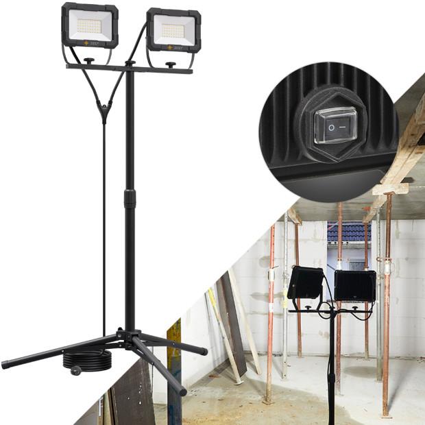 Northpoint LED Blackline Doppelbaustrahler mit Stativ (2x50W, 2x4000 Lumen, 1,61m)