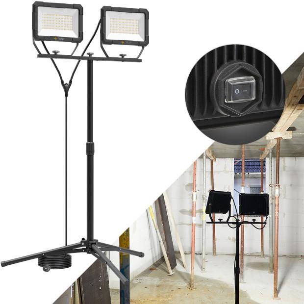 Northpoint LED Blackline Doppelbaustrahler mit Stativ (2x100W, 2x8200 Lumen, 1,67m)
