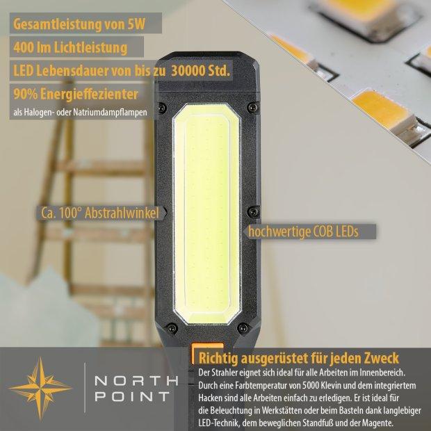 Northpoint LED Werkstattlampe Klemmleuchte Arbeitslampe Stableuchte 400 Lumen Kabellos Magnet Haken