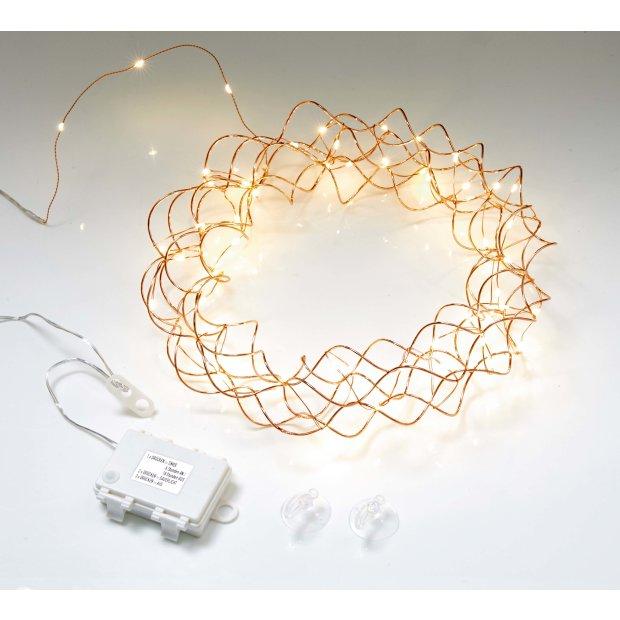 Northpoint LED Licht Kranz 30cm Ø Rosegold drahtgeflecht mit warmweißer LED Beleuchtung mit Batterien und integriertem Timer