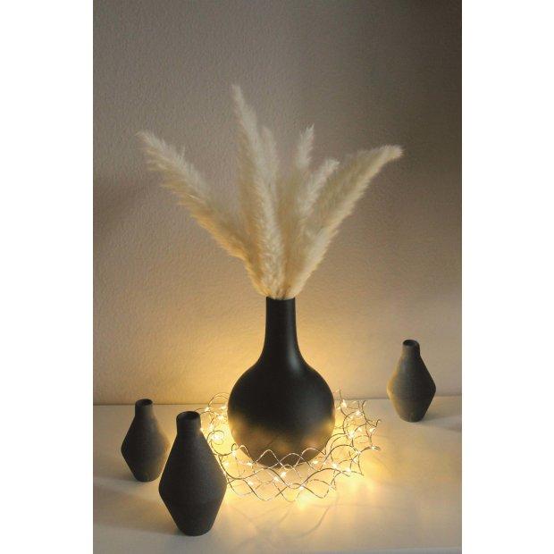 Northpoint LED Licht Kranz 30cm Ø Silber drahtgeflecht mit warmweißer LED Beleuchtung mit Batterien und integriertem Timer