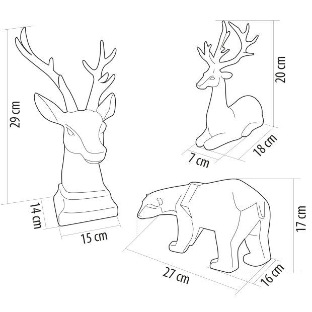 Northpoint LED Tiere aus Polyresin mit warmweißer Beleuchtung