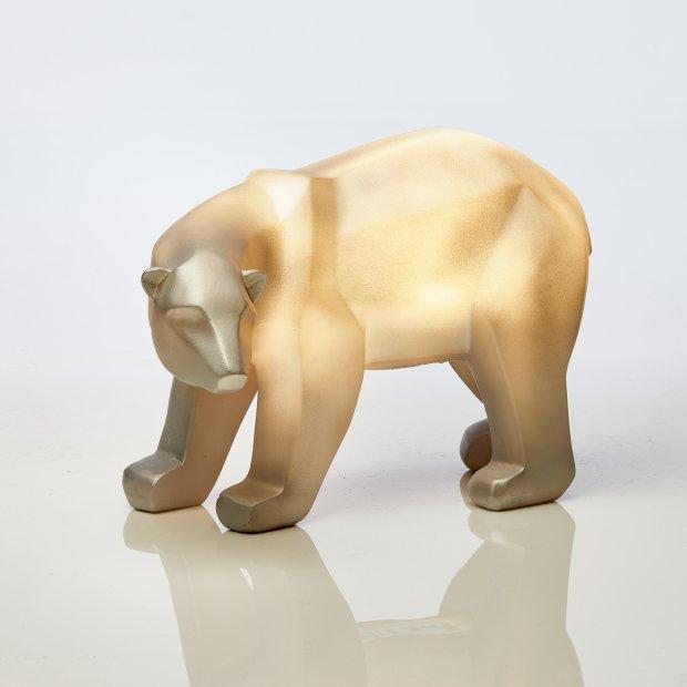 Northpoint LED Polyresin Figur Polarbär Silber mit integrierter warmweißer Lampe Dekoration Ambiente Batteriebetrieben