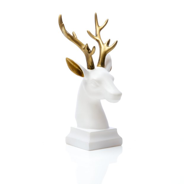Northpoint LED Polyresin Figur Rentier Kopf Gold/Weiß mit integrierter warmweißer Lampe Dekoration Ambiente Batteriebetrieben