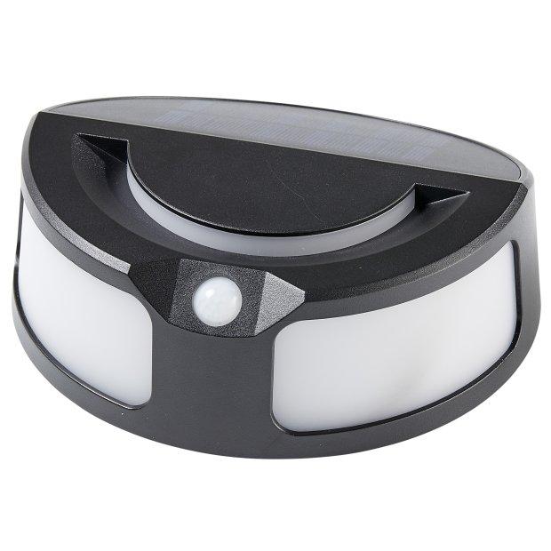 Northpoint Solar Sensorleuchte für Wand und Boden, modernes schwarzes Design, schöne 3000K Farbtemperatur, 120° Erfassungswinkel, 3-5m Reichweite, 3,7V 1500 mAh Li-Ion Akku