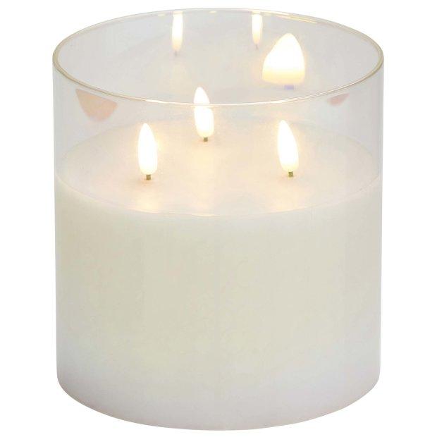 LED Echtwachskerze im Glas Weiß