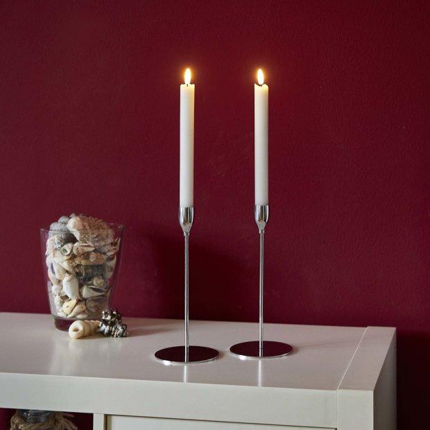 Northpoint LED Echtwachs Kerzen Doppelpack Ständer flackernd Pusten zum Ein-/Ausschalten warmweiß mit integriertem Timer Batteriebetrieben