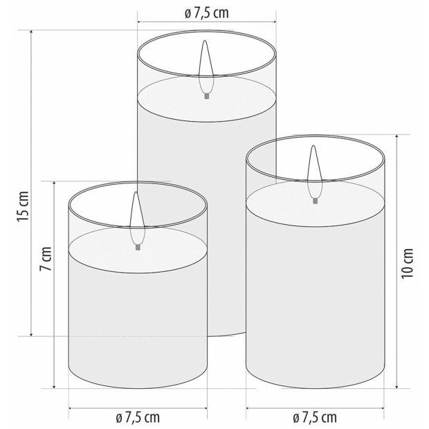 Northpoint LED Echtwachs Kerzen Set flackernd warmweiß Pyramide 3er Set mit integriertem Timer Batteriebetrieben