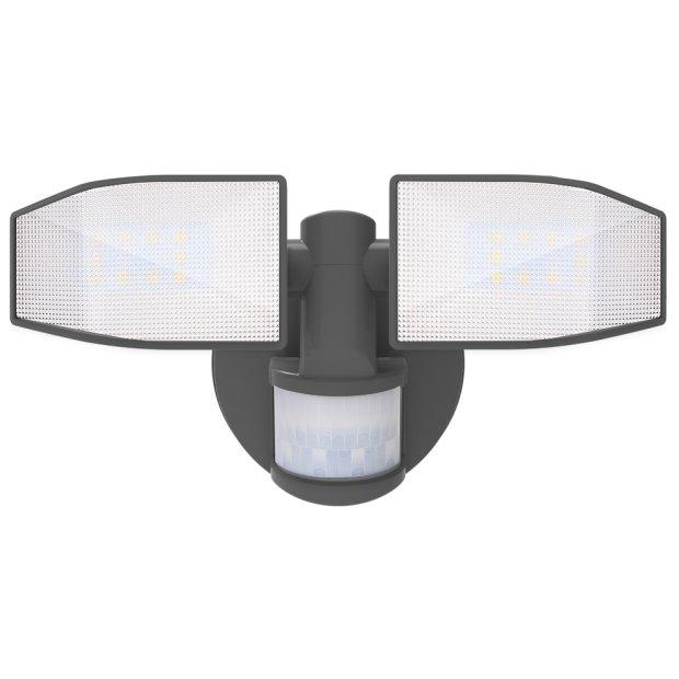 Northpoint LED Strahler Batterie 2 Fluter-Köpfe Bewegungsmelder Schwenkbar 400 Lumen Grau
