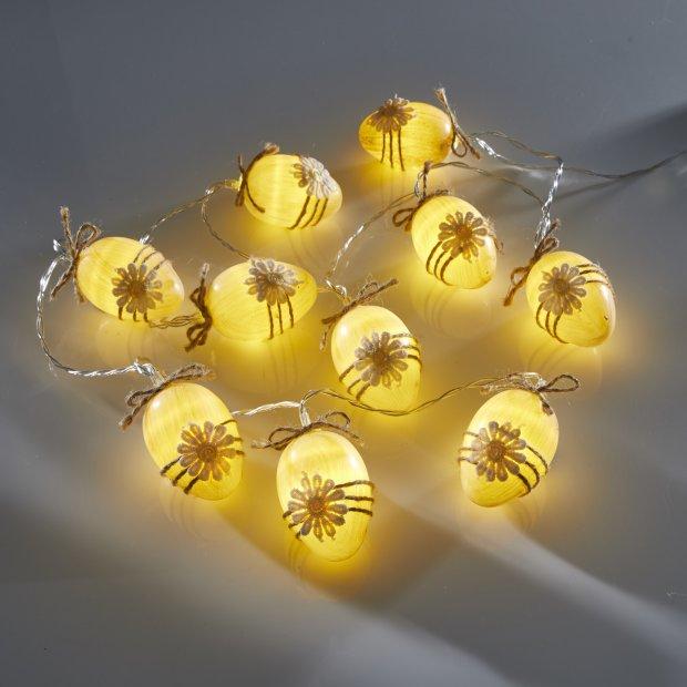 LED Lichterkette inkl. Batterien 10 Warmweiße Leuchtostereier Ostern Batteriebetrieben 175cm Timerfunktion Ostern Braun
