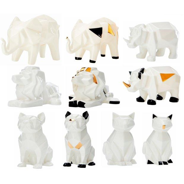 LED Porzellanfiguren Origami Design Warmweißes Licht und Timer batteriebetrieben