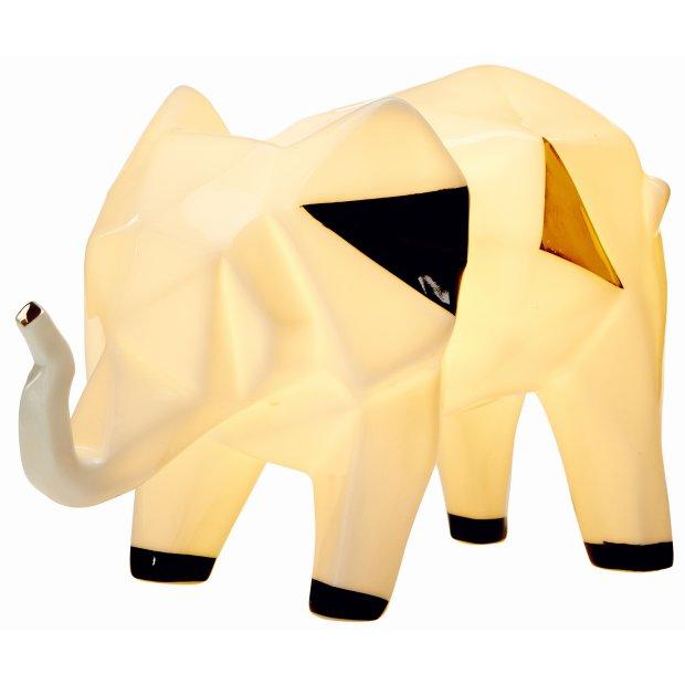 LED Porzellanfiguren Origami Design Warmweißes Licht und Timer batteriebetrieben Elefant farbig