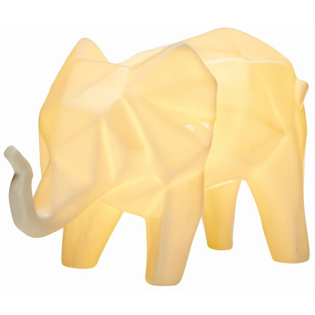 LED Porzellanfiguren Origami Design Warmweißes Licht und Timer batteriebetrieben Elefant Weiß