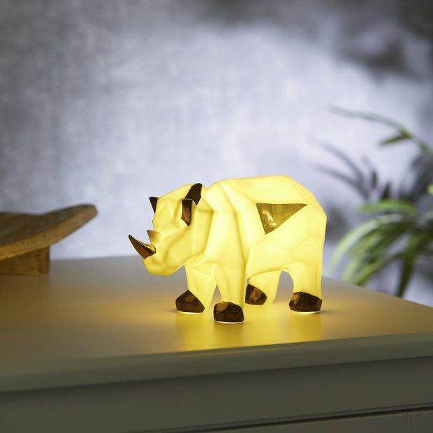 LED Porzellanfiguren Origami Design Warmweißes Licht und Timer batteriebetrieben Nashorn Farbig