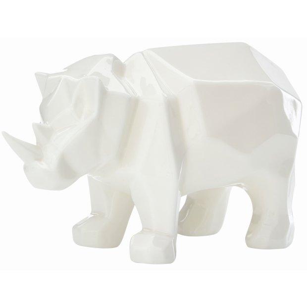 LED Porzellanfiguren Origami Design Warmweißes Licht und Timer batteriebetrieben Nashorn Weiß