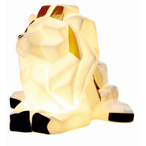 LED Porzellanfiguren Origami Design Warmweißes Licht und Timer batteriebetrieben Löwe Farbig