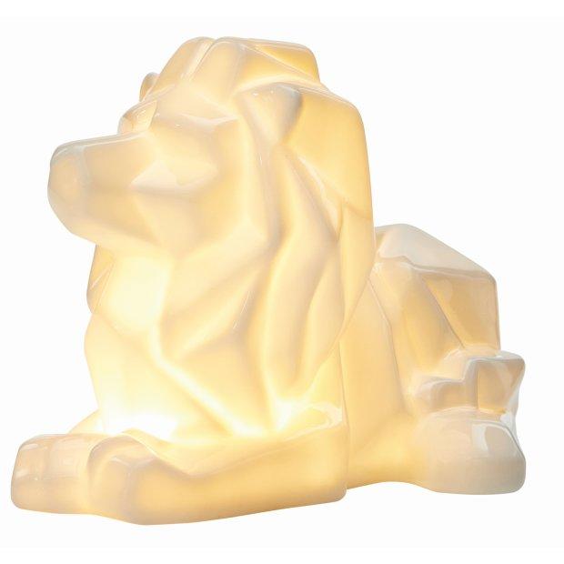 LED Porzellanfiguren Origami Design Warmweißes Licht und Timer batteriebetrieben Löwe Weiß