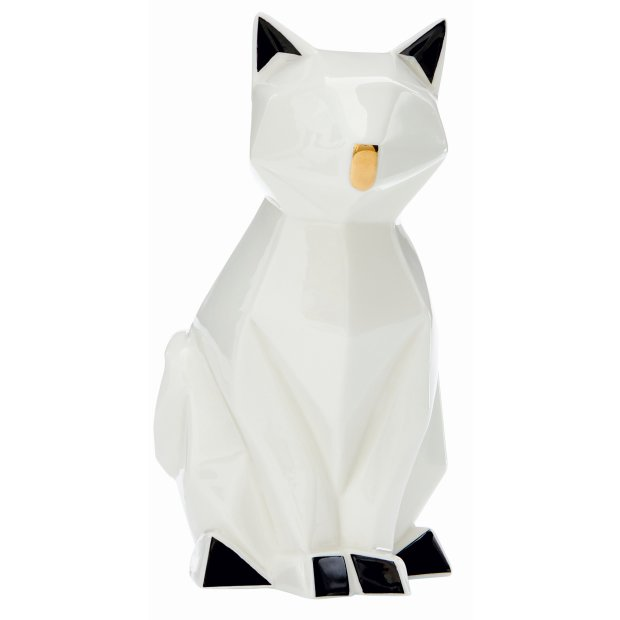 LED Porzellanfiguren Origami Design Warmweißes Licht und Timer batteriebetrieben Katze Farbig