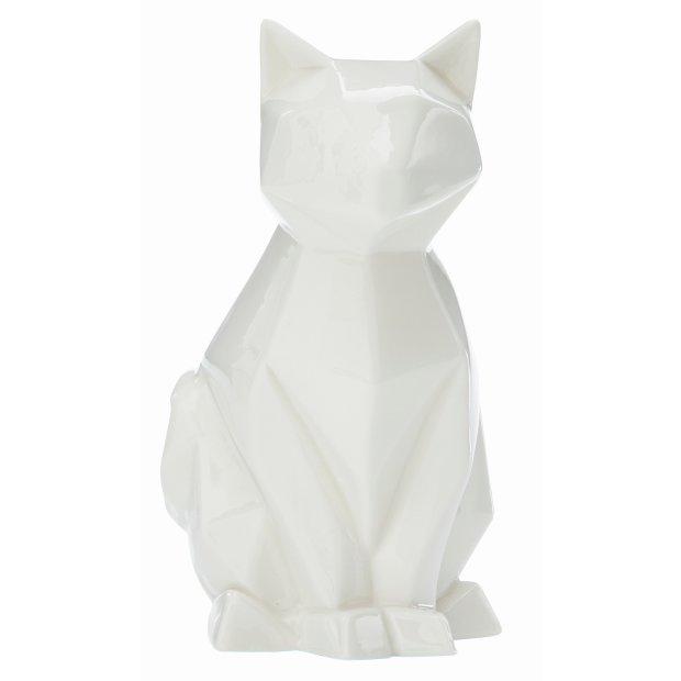LED Porzellanfiguren Origami Design Warmweißes Licht und Timer batteriebetrieben Katze Weiß