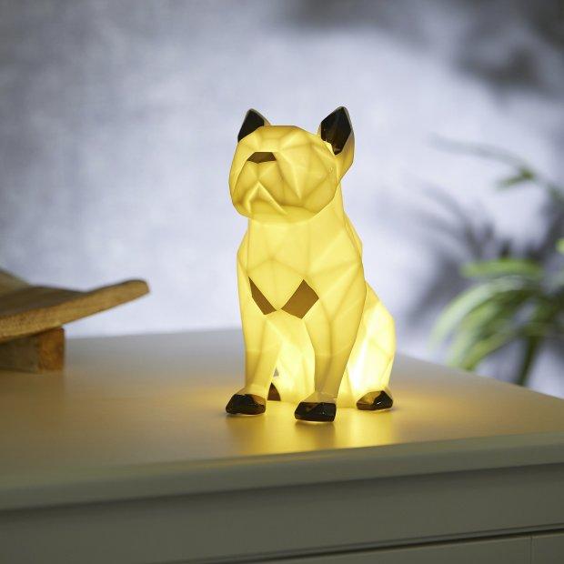LED Porzellanfiguren Origami Design Warmweißes Licht und Timer batteriebetrieben Bulldogge Farbig
