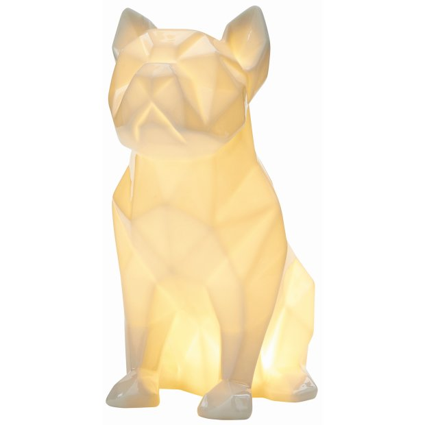LED Porzellanfiguren Origami Design Warmweißes Licht und Timer batteriebetrieben Bulldogge Weiß