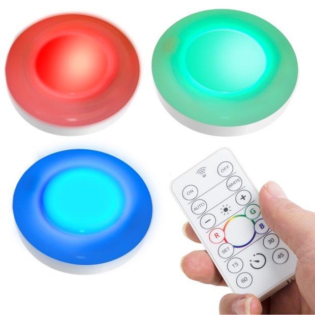 Northpoint LED Batterie Beleuchtungsspots Schkrankleuchten 3er Set mit Fernbedienung Farbwechsel Timerfunktion für den Außenbereich Spritzwassergeschützt