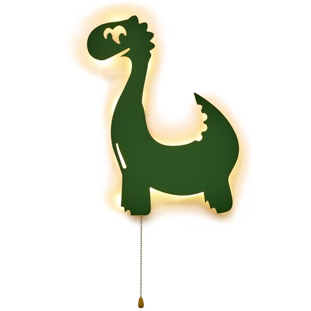 LED Kinderzimmer Nachtlicht Wandleuchte Wandlicht für Kinder Schlummerlicht aus Holz Batteriebetrieben Dinosaurier