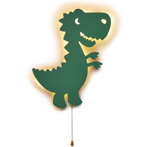 LED Kinderzimmer Nachtlicht Wandleuchte Wandlicht für Kinder Schlummerlicht aus Holz Batteriebetrieben T-Rex