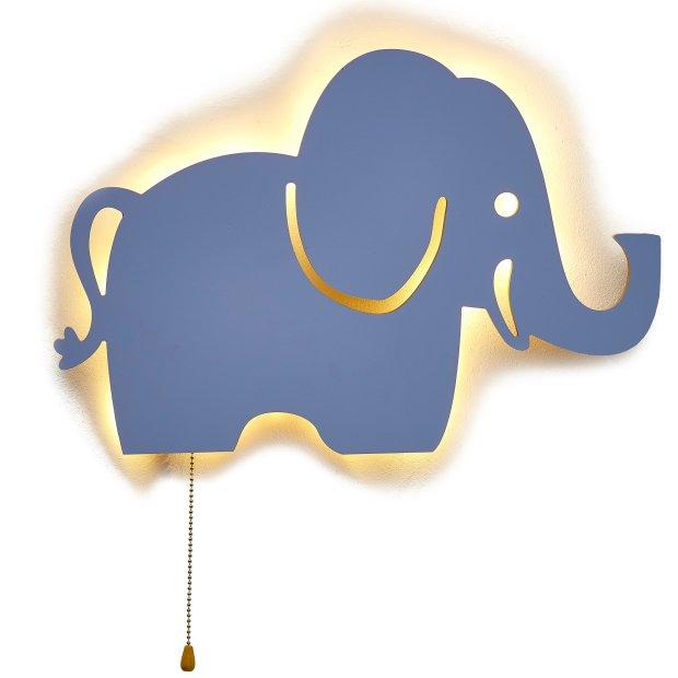 LED Kinderzimmer Nachtlicht Wandleuchte Wandlicht für Kinder Schlummerlicht aus Holz Batteriebetrieben Elefant