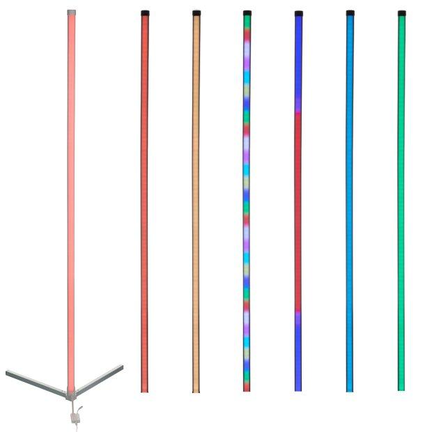 Northpoint LED Stehlampe Ecklampe mit Fernbedienung integriertem Musiksensor RGB + Warmweiß Farbeffekte Dreieck Weiß