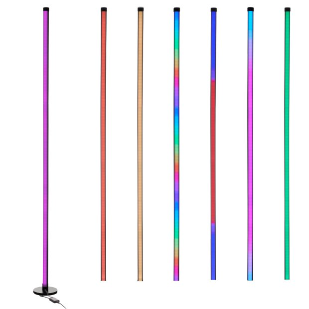 Northpoint LED Stehlampe Ecklampe mit Fernbedienung integriertem Musiksensor RGB + Warmweiß Farbeffekte Rund Schwarz