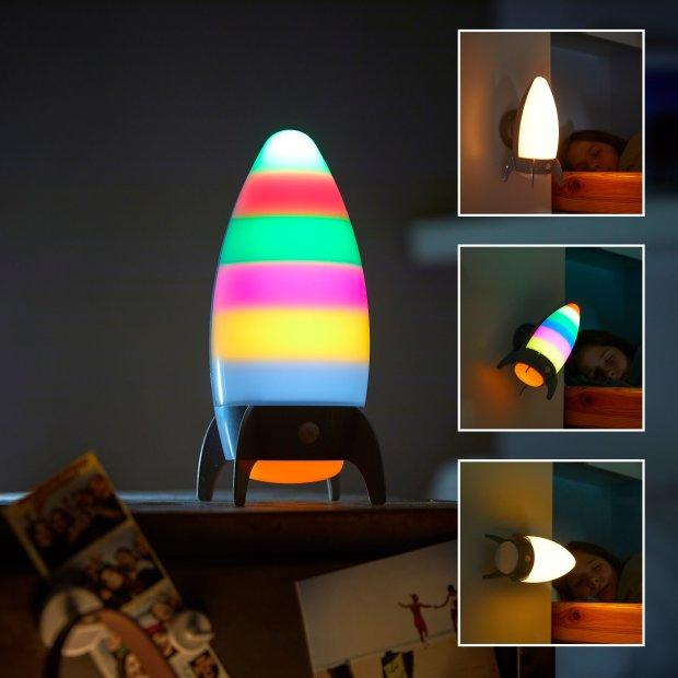 Northpoint LED Nachtlicht für Kinder mit Bewegungsmelder Schlummerleuchte Farbwechsel Rakete inklusive Batterien